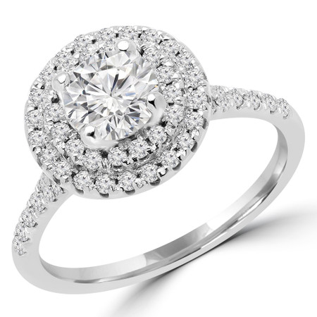 Round Cut Diamond Multi-Stone 4-Prong Double Halo Engagement Ring with Round Diamond Accents in White Gold - #JESSICA-W