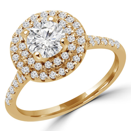 Round Cut Diamond Multi-Stone 4-Prong Double Halo Engagement Ring with Round Diamond Accents in Yellow Gold - #JESSICA-Y