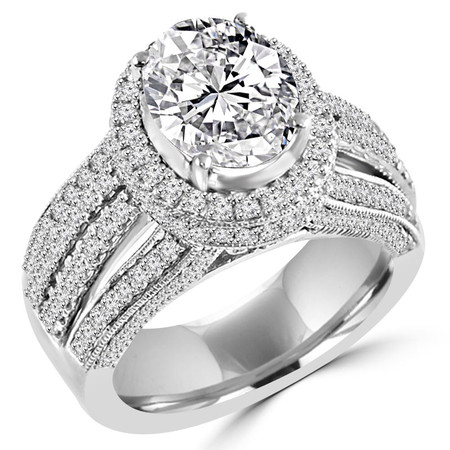 Oval Cut Diamond Multi-Stone 4-Prong Vintage Halo Engagement Ring with Round Diamond Accents in White Gold - #HR6254-W-OV