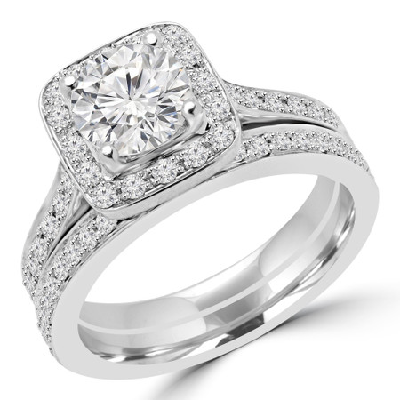 Round Cut Diamond Multi-Stone 4-Prong Halo Engagement Ring and Wedding Band Bridal Set with Round Diamond Accents in White Gold - #2566L-SET-W