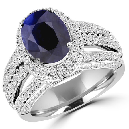 Oval Cut Blue Sapphire Gemstone Multi-Stone 4-Prong Vintage Halo Engagement Ring with Round Diamond Accents in White Gold - #HR6254-W-SAP