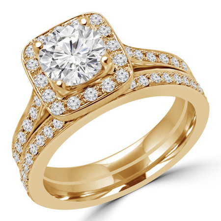 Round Cut Diamond Multi-Stone 4-Prong Halo Engagement Ring and Wedding Band Bridal Set with Round Diamond Accents in Yellow Gold - #2566L-SET-Y