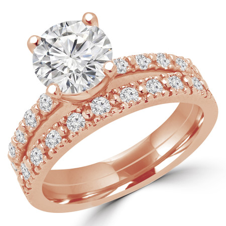 Round Cut Diamond Multi-Stone 4-Prong Engagement Ring & Wedding Band Bridal Set with Round Diamond Accents in Rose Gold - #HR10362-NOVO-SET-R