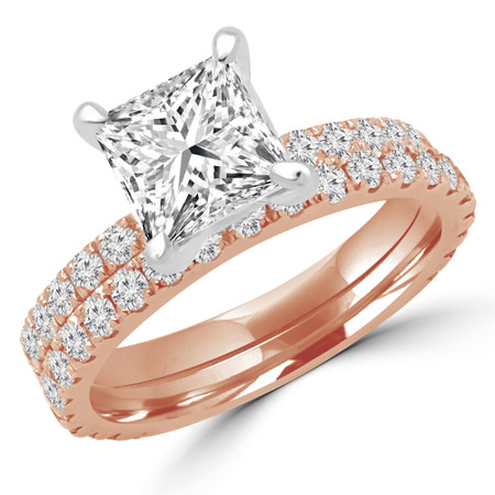 Princess Cut Diamond Multi-Stone 4-Prong Engagement Ring and Wedding Band Bridal Set with Round Diamond Accents in Rose Gold - #ELIAS-PR-SET-R