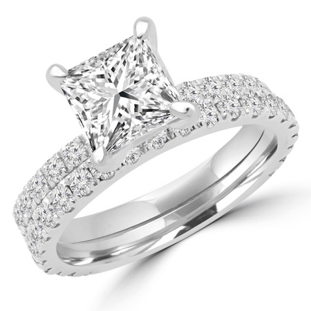 Princess Cut Diamond Multi-Stone 4-Prong Engagement Ring and Wedding Band Bridal Set with Round Diamond Accents in White Gold - #ELIAS-PR-SET-W