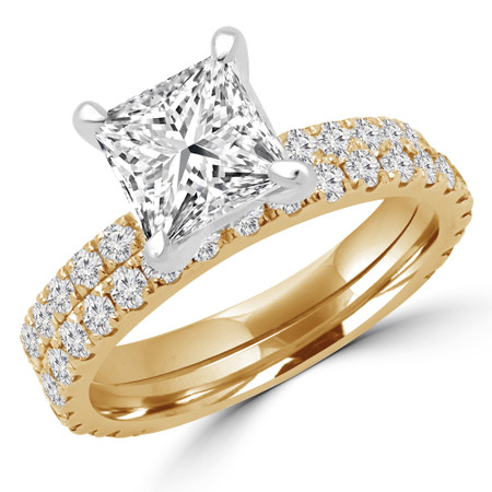 Princess Cut Diamond Multi-Stone 4-Prong Engagement Ring and Wedding Band Bridal Set with Round Diamond Accents in Yellow Gold - #ELIAS-PR-SET-Y