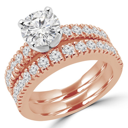 Round Cut Diamond Multi-Stone 4-Prong Engagement Ring and Wedding Band Bridal Set with Round Diamond Scallop-Set Accents in Rose Gold - #2457L-SET-R
