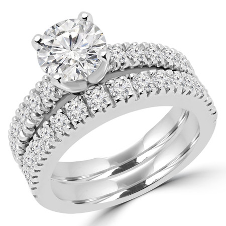 Round Cut Diamond Multi-Stone 4-Prong Engagement Ring and Wedding Band Bridal Set with Round Diamond Scallop-Set Accents in White Gold - #2457L-SET-W