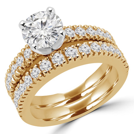 Round Cut Diamond Multi-Stone 4-Prong Engagement Ring and Wedding Band Bridal Set with Round Diamond Scallop-Set Accents in Yellow Gold - #2457L-SET-Y