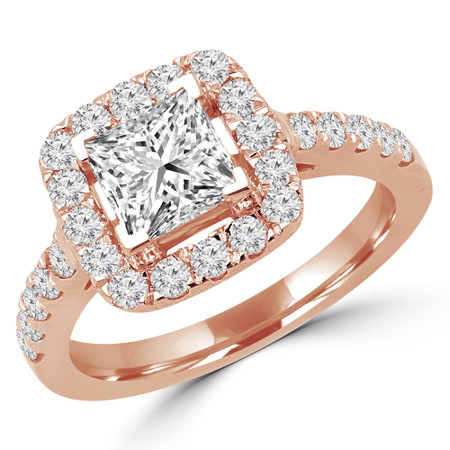 Princess Cut Diamond Multi-Stone Halo 4-Prong Engagement Ring with Round Diamond Accents in Rose Gold - #ABBEY-R