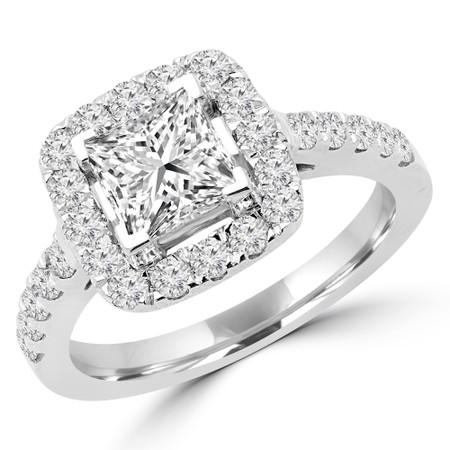 Princess Cut Diamond Multi-Stone Halo 4-Prong Engagement Ring with Round Diamond Accents in White Gold - #ABBEY-W