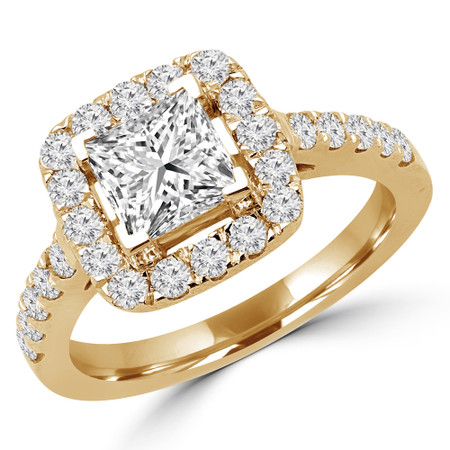 Princess Cut Diamond Multi-Stone Halo 4-Prong Engagement Ring with Round Diamond Accents in Yellow Gold - #ABBEY-Y