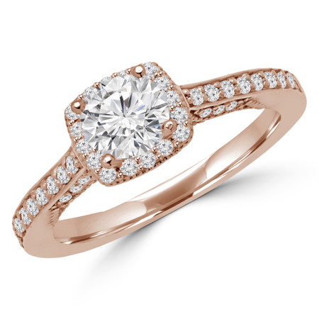 Round Cut Diamond Multi-Stone 4-Prong Halo Engagement Ring with Round Diamond Accents in Rose Gold - #CHANELLE-R