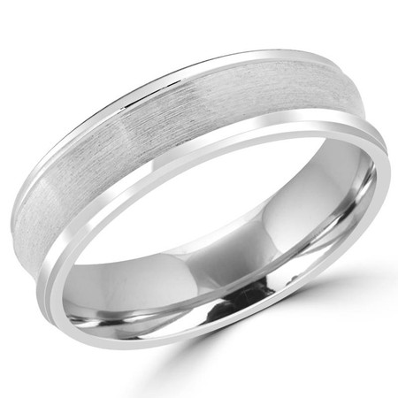 6.0 MM Brushed and Polished Concave Mens Comfort Fit Wedding Band Ring in White Gold - #JM095-W