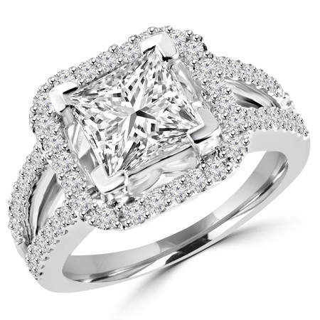 Princess Cut Diamond Multi-Stone Split-Shank V-Prong Vintage Halo Engagement Ring with Round Diamond Scallop-Set Accents in White Gold - #HR6264-W