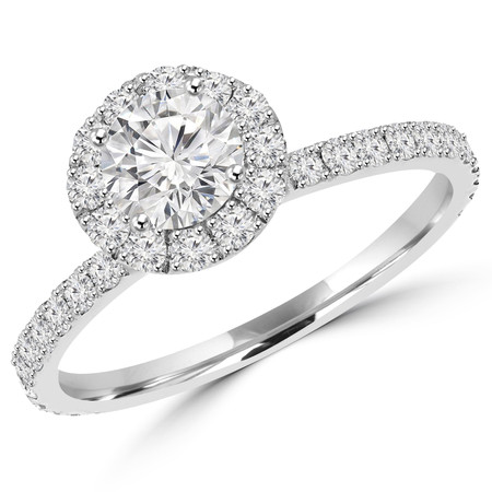 Round Cut Diamond Multi-Stone 4-Prong Halo Engagement Ring with Round Diamond Accents in White Gold - #JEFE-W