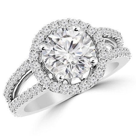 Round Cut Diamond Multi-Stone Split-Shank 4-Prong Halo Engagement Ring with Round Diamond Accents in White Gold - #HR6265-W