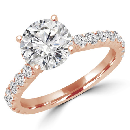 Round Cut Diamond Multi-Stone 4-Prong Engagement Ring with Round Diamond Accents in Rose Gold - #IMAN-R