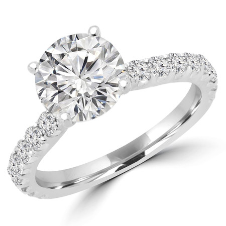 Round Cut Diamond Multi-Stone 4-Prong Engagement Ring with Round Diamond Accents in White Gold - #IMAN-W