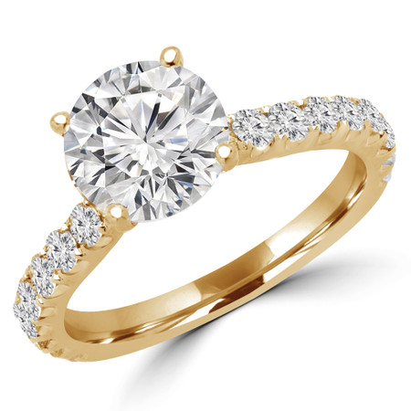 Round Cut Diamond Multi-Stone 4-Prong Engagement Ring with Round Diamond Accents in Yellow Gold - #IMAN-Y