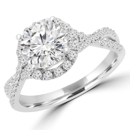 Round Cut Diamond Multi-Stone 4-Prong Infinity Halo Engagement Ring with Round Diamond Accents in White Gold - #LIV-W