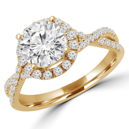 Round Cut Diamond Multi-Stone 4-Prong Infinity Halo Engagement Ring with Round Diamond Accents in Yellow Gold - #LIV-Y
