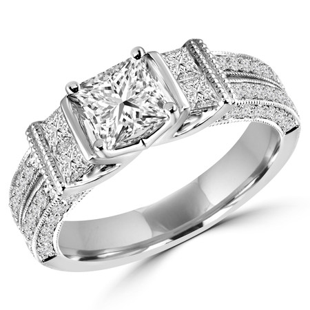 Princess Cut Diamond Multi-Stone 4-Prong Engagement Ring with Princess & Round Cut Diamond Accents in White Gold - #HR6336-W