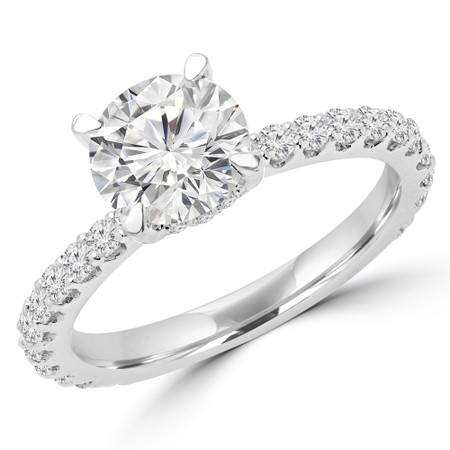 Round Cut Diamond Multi-Stone 4-Prong Engagement Ring with Round Diamond Accents in White Gold - #FRED-W