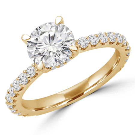 Round Cut Diamond Multi-Stone 4-Prong Engagement Ring with Round Diamond Accents in Yellow Gold - #FRED-Y