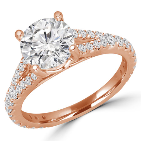 Round Cut Diamond Multi-Stone 4-Prong Split-Shank Engagement Ring with Round Diamond Accents in Rose Gold - #CATHLEEN-R