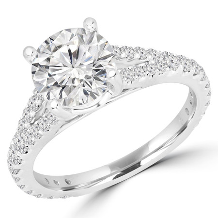 Round Cut Diamond Multi-Stone 4-Prong Split-Shank Engagement Ring with Round Diamond Accents in White Gold - #CATHLEEN-W