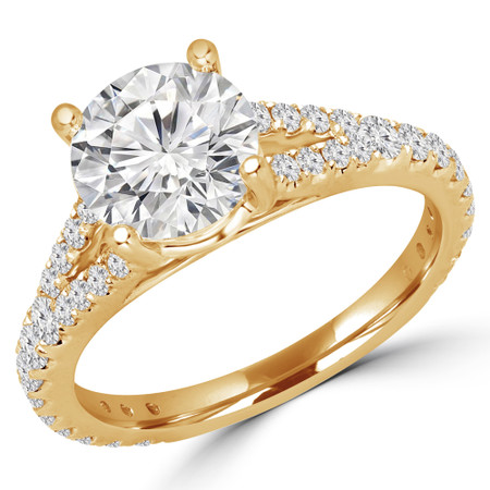 Round Cut Diamond Multi-Stone 4-Prong Split-Shank Engagement Ring with Round Diamond Accents in Yellow Gold - #CATHLEEN-Y
