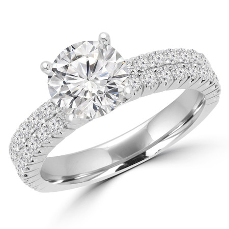 Round Cut Diamond Multi-Stone 4-Prong Two-Row Engagement Ring with Round Diamond Accents in White Gold - #GRETA-W