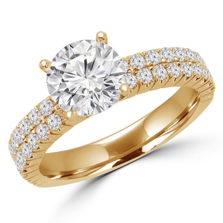 Round Cut Diamond Multi-Stone 4-Prong Two-Row Engagement Ring with Round Diamond Accents in Yellow Gold - #GRETA-Y