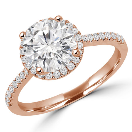 Round Cut Diamond Multi-Stone 4-Prong Halo Engagement Ring with Round Diamond Accents in Rose Gold - #AURORA-R