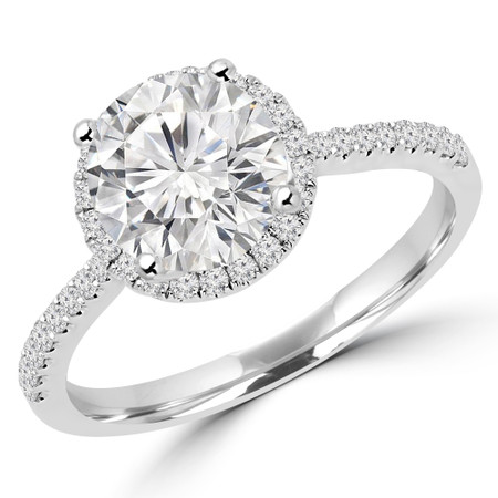Round Cut Diamond Multi-Stone 4-Prong Halo Engagement Ring with Round Diamond Accents in White Gold - #AURORA-W