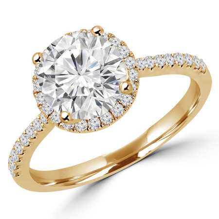 Round Cut Diamond Multi-Stone 4-Prong Halo Engagement Ring with Round Diamond Accents in Yellow Gold - #AURORA-Y