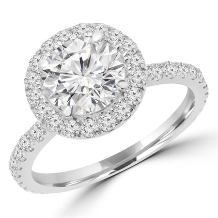 Round Cut Diamond Multi-Stone 4-Prong Halo Engagement Ring in White Gold - #MICHELLE-W