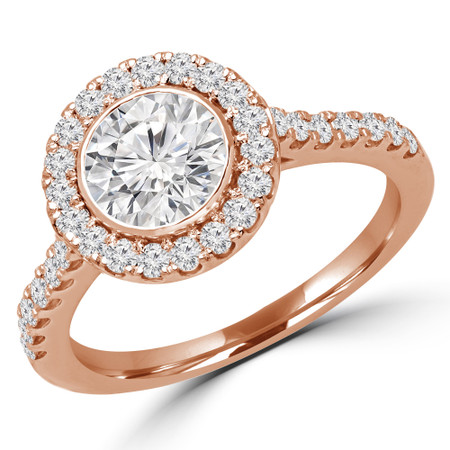 Round Cut Diamond Multi-Stone Bezel-Set Halo Engagement Ring with Round Diamond Accents in Rose Gold - #DARIA-R