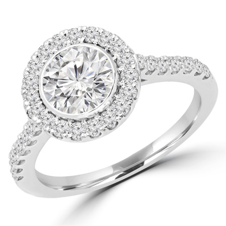 Round Cut Diamond Multi-Stone Bezel-Set Halo Engagement Ring with Round Diamond Accents in White Gold - #DARIA-W