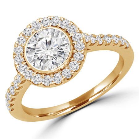 Round Cut Diamond Multi-Stone Bezel-Set Halo Engagement Ring with Round Diamond Accents in Yellow Gold - #DARIA-Y