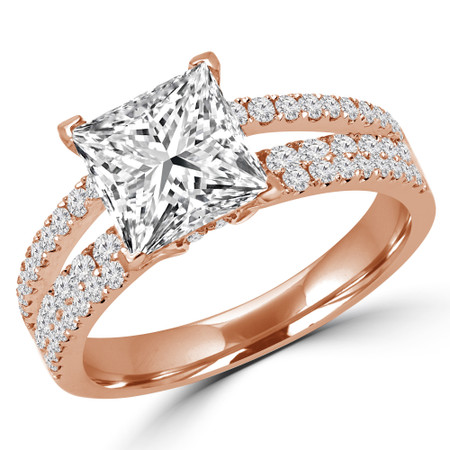 Princess Cut Diamond Split-Shank Multi-Stone 4-Prong Engagement Ring with Round Diamond Accents in Rose Gold - #DESIREE-R