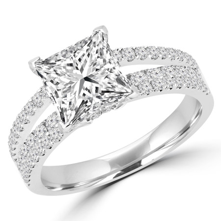 Princess Cut Diamond Split-Shank Multi-Stone 4-Prong Engagement Ring with Round Diamond Accents in White Gold - #DESIREE-W