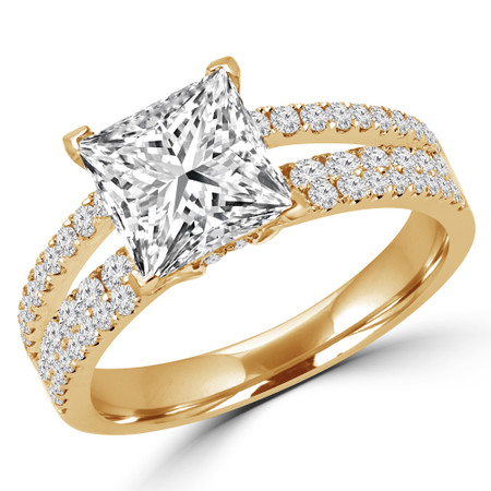 Princess Cut Diamond Split-Shank Multi-Stone 4-Prong Engagement Ring with Round Diamond Accents in Yellow Gold - #DESIREE-Y