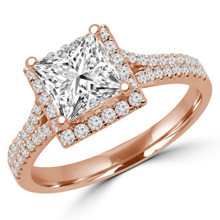 Princess Cut Diamond Multi-Stone 4-Prong Halo Engagement Ring with Round Diamond Accents in Rose Gold - #CAMILLE-R