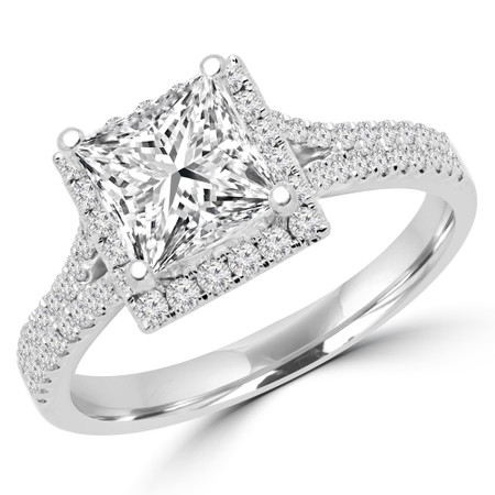 Princess Cut Diamond Multi-Stone 4-Prong Halo Engagement Ring with Round Diamond Accents in White Gold - #CAMILLE-W