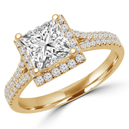 Princess Cut Diamond Multi-Stone 4-Prong Halo Engagement Ring with Round Diamond Accents in Yellow Gold - #CAMILLE-Y