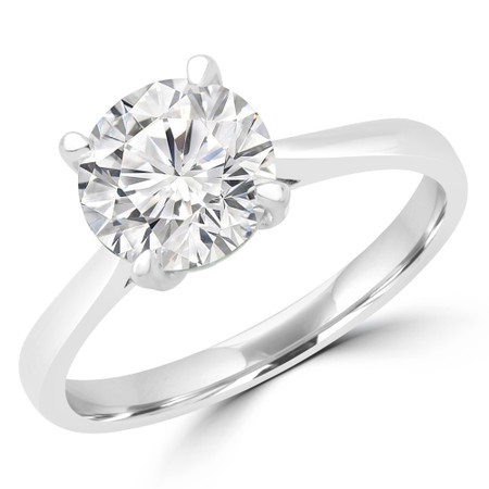 Round Cut Diamond Solitaire Engagement Ring in White Gold - #CALISTA-W