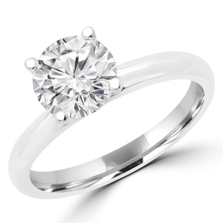 Round Cut Diamond Solitaire 4-Prong Engagement Ring in White Gold - #BONNIE-W