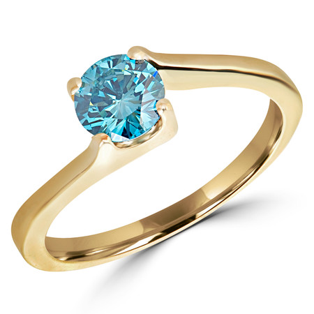 Round Cut Ocean Blue Diamond Solitaire 4-Prong Engagement Ring in Yellow Gold - #HR6951-Y-BLUE